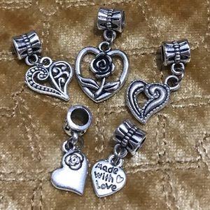 Jewelry - Heart flower dangle charm fit pandora bracelet
